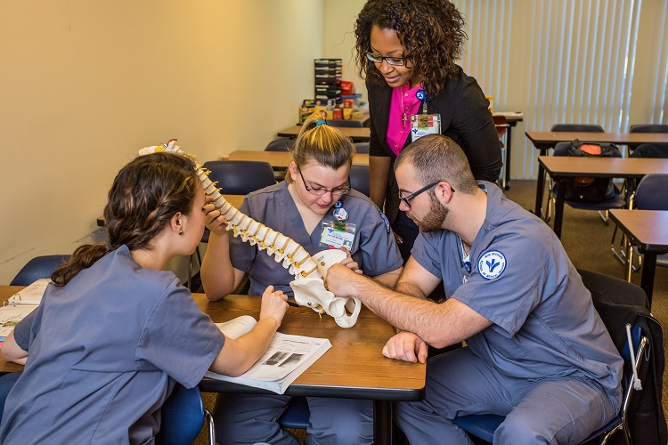 Radiography Students and an Instructor Examining a Lumbar Spine